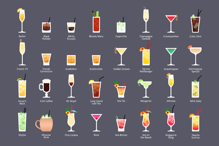 Alcoholic cocktails, IBA official cocktails Contemporary Classics. Icons set in flat style on dark background. Vector