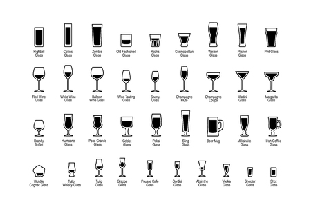 Drink glasses with titles, black and white icons set. Vector illustration