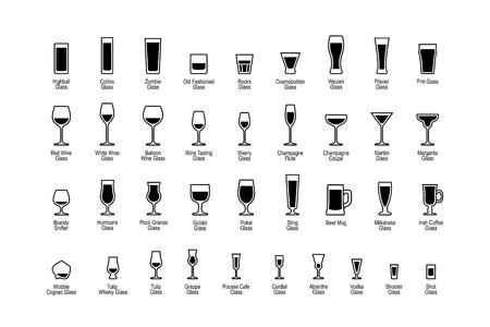Drink glazen met titels, zwart-wit iconen set. Vector illustratie