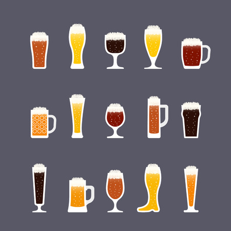 Beer icons set in flat style, bottles and glasses, various colors. Icon set in flat style. Vector illustration