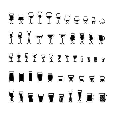 Alcoholic drinks glasses black and white icons set, vector illustration. Vettoriali