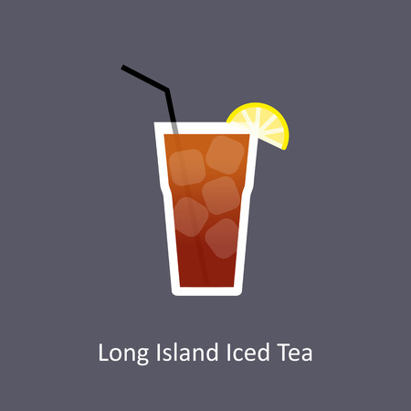 Long Island Iced Tea cocktail icon on dark background in flat style