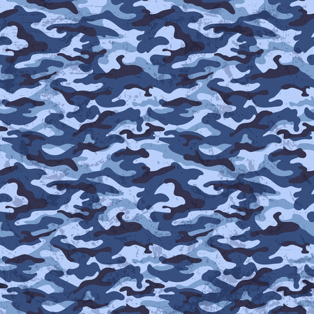 Blue camouflage with grunge effect background, vector illustration