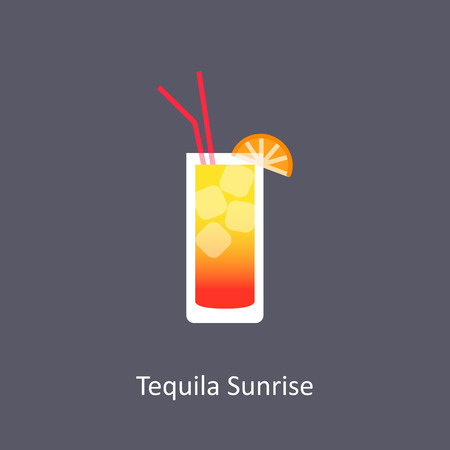 Tequila Sunrise cocktail icon on dark background in flat style Illustration