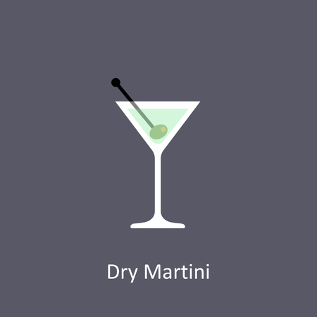 dark olive: Dry Martini cocktail icon on dark background in flat style