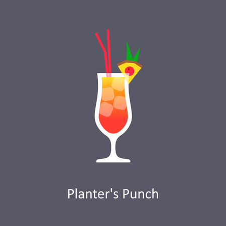 Planters Punch cocktail icon on dark background in flat style. Vector illustration Stock Photo