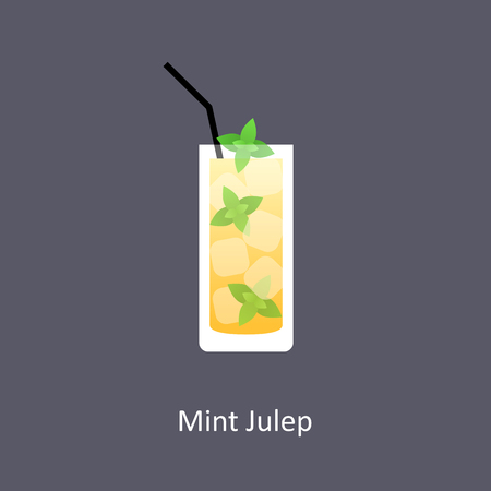 Mint Julep cocktail icon on dark background in flat style. Vector illustration
