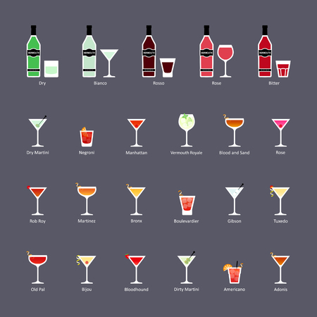 Types of vermouth and cocktails with vermouth, set of flat icons. Vector