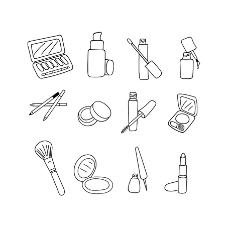 Makeup cosmetics products, sketch on white background. Vector illustration