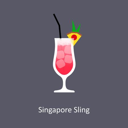 フラット スタイルで暗い背景にシンガポール ・ スリングのカクテル アイコン。ベクトル図