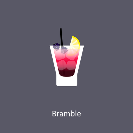 Bramble cocktail icon on dark background in flat style. Vector illustration Illustration