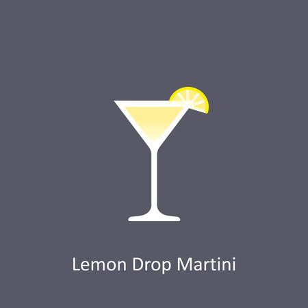 Lemon Drop Martini cocktail icon on dark background in flat style. Vector illustration Illustration