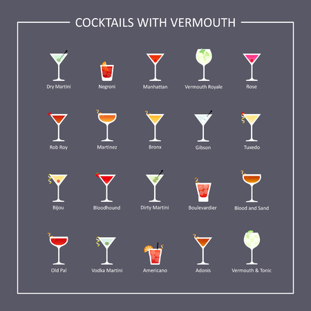 bloodhound: Cocktails with vermouth guide, flat icons on dark background. Vector illustration