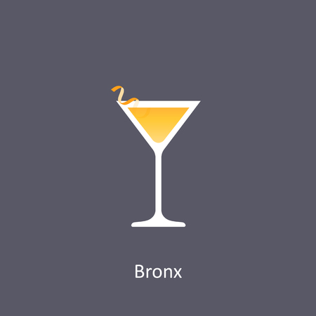 Bronx cocktail icon on dark background in flat style. Vector illustration