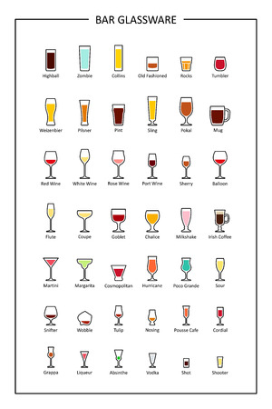 Bar glassware guide, colored icons on white background. Vertical orientation. Vector illustration