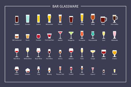 Gafas de bar tipos de guía, iconos planos sobre fondo oscuro. Orientación horizontal. Vector
