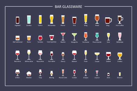 Bar glasses types guide, flat icons on dark background. Horizontal orientation. Vector