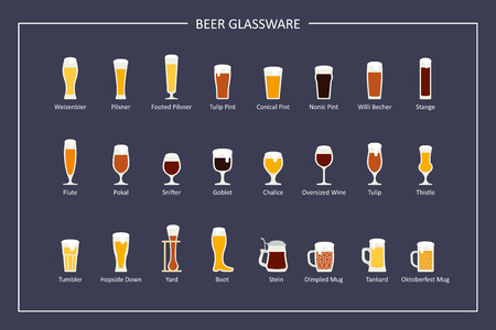 Beer glasses types guide, flat icons on dark background. Horizontal orientation. Vector