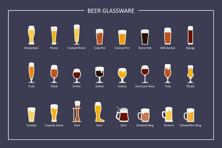 Guide des types de verres à bière, icônes plats sur fond sombre. Orientation horizontale Vecteur