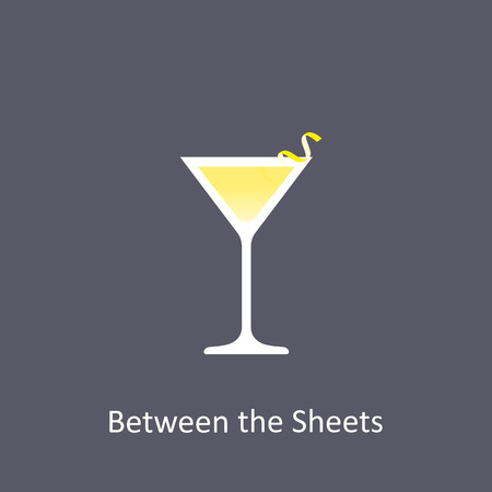 Between the Sheets cocktail icon on dark background in flat style