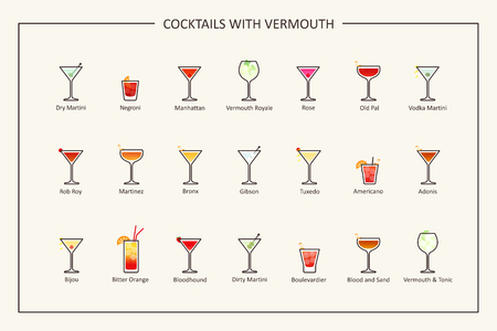 Cocktails with vermouth guide, colored icons. Horizontal orientation. Vector