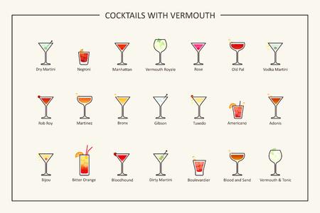 Cocktails met vermouth gids, gekleurde iconen. Horizontale oriëntatie. Vector