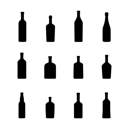 Bottles of alcoholic beverages, black silhouettes. Vector