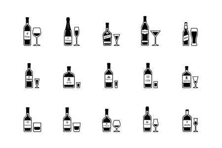 Pair of bottle and glass of alcoholic beverages, black and white icons. Vector
