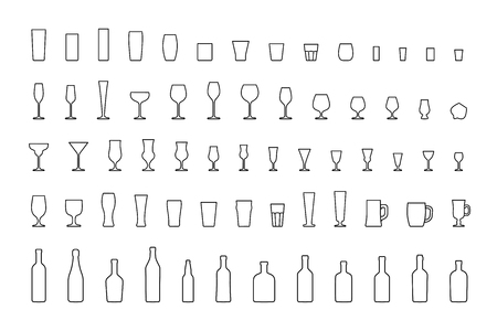 Line icons bar glasses and bottles. Vector