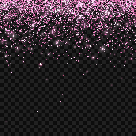 Pink falling glitter particles on dark transparent background. Vector illustration Illustration