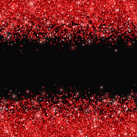 Red glitter on black background. Vector illustration
