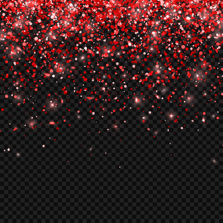 Red falling particles on transparent background. Vector