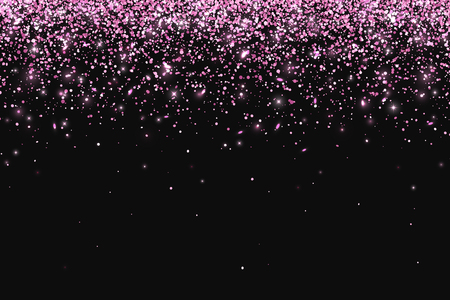 Pink falling particles on dark background. Vector Illustration