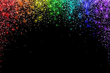 Rainbow confetti on black background, arch shape. Vector