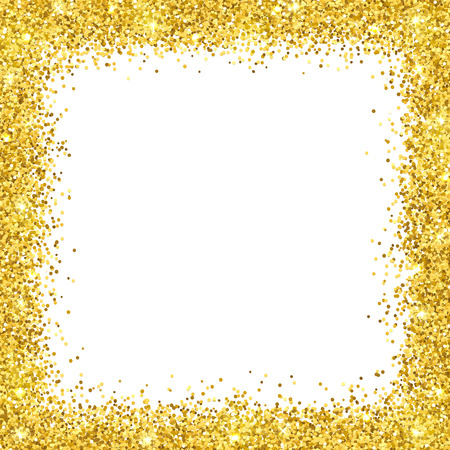 Gold glitter border frame on white illustration.