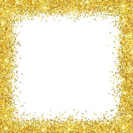 Gold glitter border frame on white illustration.