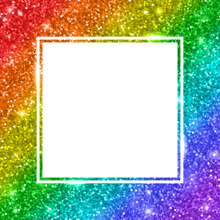Rainbow glitter square frame, diagonal stripes.