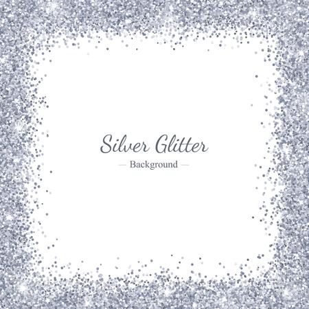 Silver glitter square border frame. Vector Illustration