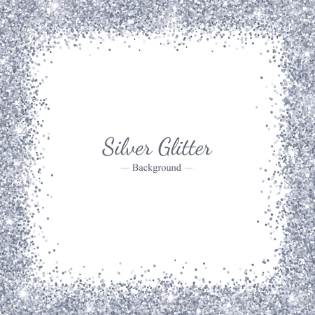 Zilver glitter vierkant randkader. Vector Illustratie