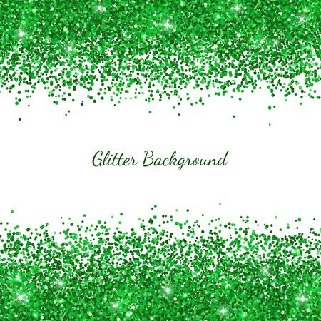 Green glitter on white illustration.