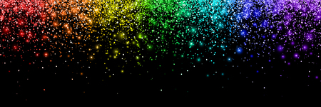 Rainbow falling particles, wide banner.
