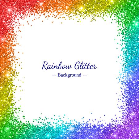 Rainbow glitter border frame on white background illustration.