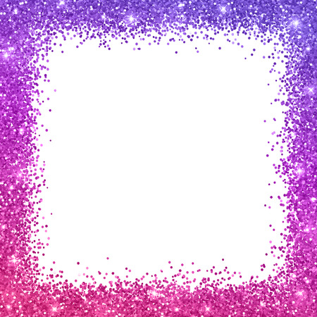 Glitter square border frame with purple pink color effect, on white background. Vector