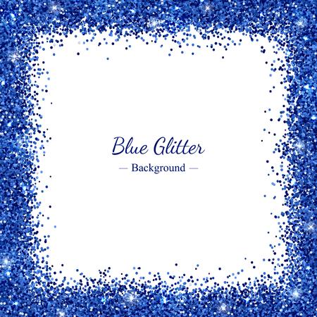 Kwadratowa ramka z niebieskim brokatem na białym tle ilustracji wektorowych.