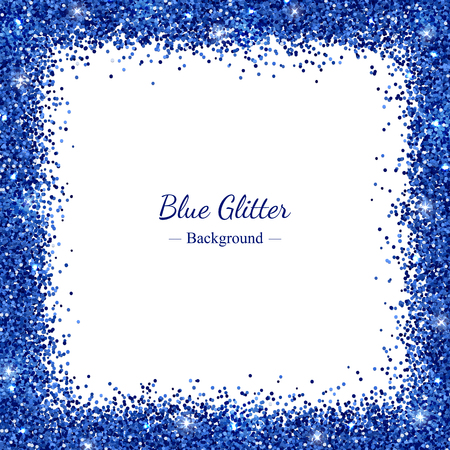 Square border frame with blue glitter on white background vector illustration.