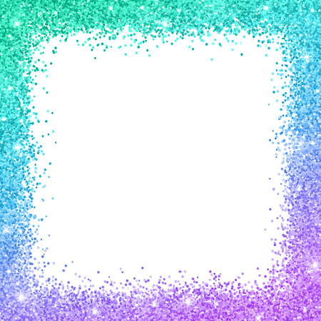 Glitter border frame with turquoise blue purple color effect on white background vector illustration.
