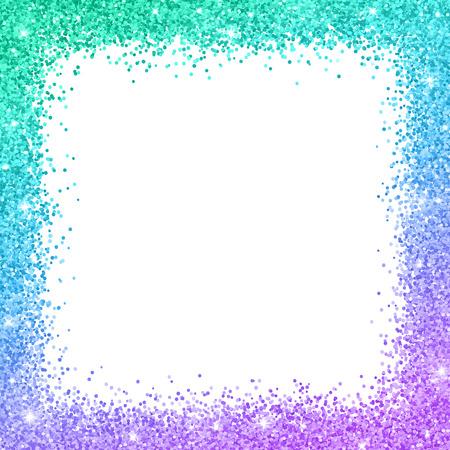 Schitter grenskader met turkoois blauw purper kleureneffect op witte vectorillustratie als achtergrond. Vector Illustratie