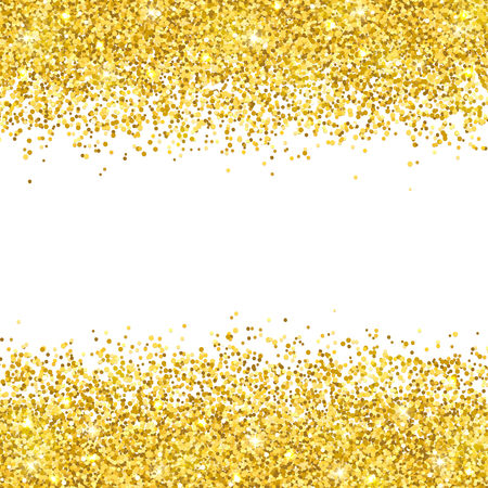 Gold glitter placer on white background vector illustration. Illustration