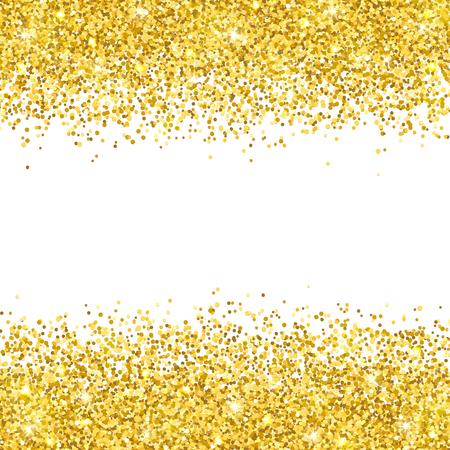 Gold glitter placer on white background vector illustration. Vettoriali