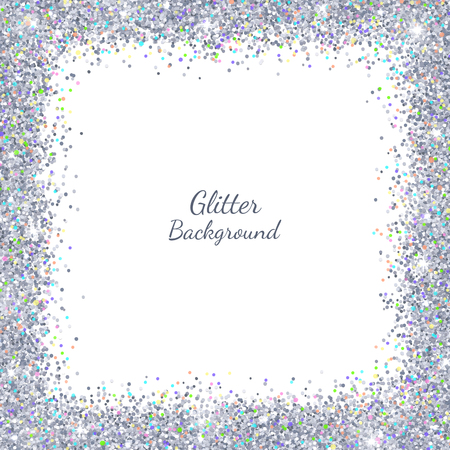 Silver glitter with colored highlights on white background, square border frame vector illustration.